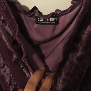 Fashion nova purple velvet off the shoulder dress